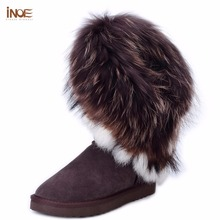INOE big fashion natural fox fur cow leather lady high snow boots for women winter boots flats shoes rabbit fur tassels edging(China (Mainland))