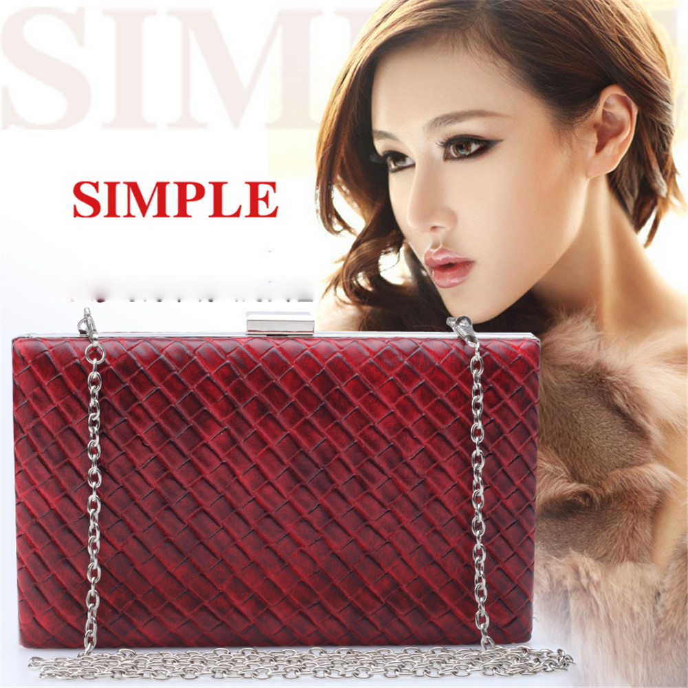 Burgundy Color Women's Fashion Weave Handbag Leather Bag European American Style Evening Bags Vintage Lady Envelope Day Clutches(China (Mainland))