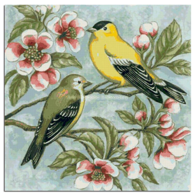 diamond embroidery bird cross-stitch rhinestone yellow sparrow red flowers mosaic crafts photo painting brown animal icons cloth(China (Mainland))
