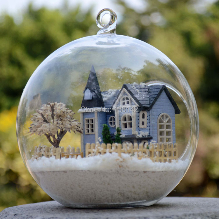 B004 angel fairy town Miniature Castle dollhouse led light doll house in Glass ball diy toys free shipping(China (Mainland))