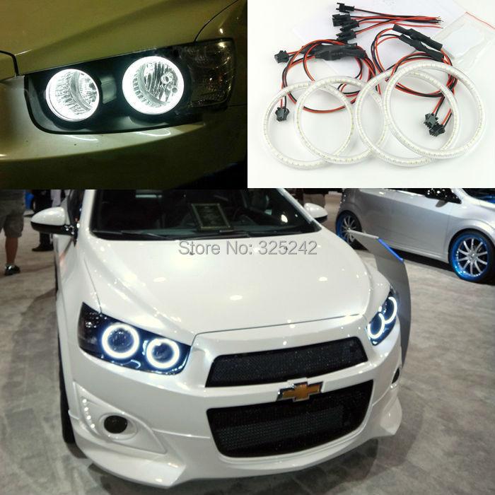 For Chevrolet AVEO Sonic T300 2011 2012 2013 2014 Excellent angel eyes Ultrabright illumination smd led Angel Eyes Halo Ring kit(China (Mainland))