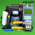 KELUSHI 19pcs set Fiber Optic FTTH Tool Kit with Optical Power Meter FC 6S Fiber Cleaver