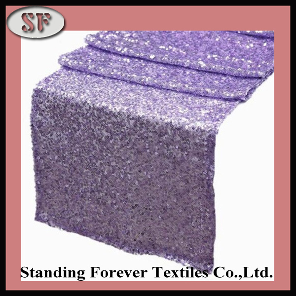 Free Shipping 12''x108'' Wedding Purple Sequin Table Runner for Sale(China (Mainland))