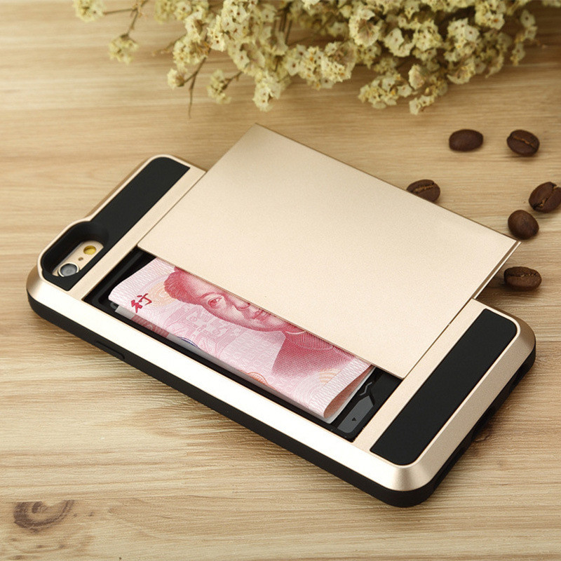 for iPhone 7 Slide Storage Case Cash Card Holder Wallet Cover iPhone 5C 5S 5 SE Back Armor Shell Shockproof Dual Housing iphone7