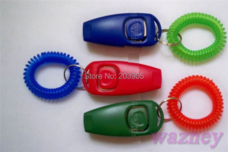 1200pcs/lot* Dog Pet Click Clicker Training Trainer Aid with whistle and wrist strap(China (Mainland))