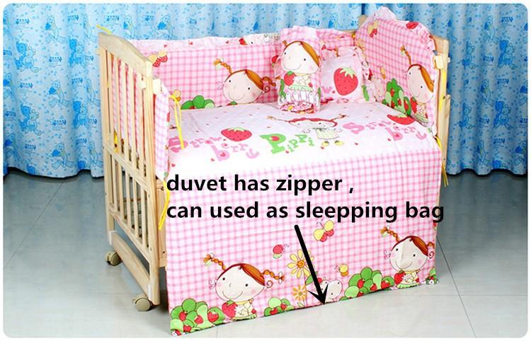 Фотография Promotion! 10PCS 100% Cotton Infant/Baby Bedclothes For Kids, Baby Bedding Set Unpick (bumpers+matress+pillow+duvet)
