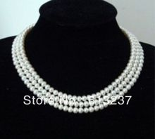 hot free Shipping new 2014 Fashion Style diy AAA Pretty! 3 Rows 8-9mm White Akoya Pearl Necklace AAA MY5204(China (Mainland))