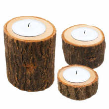 3pcs creative burr-free bark wood pile candle holder crafts decoration home decoration fleshy flower pot handmade ornaments#5J06(China)