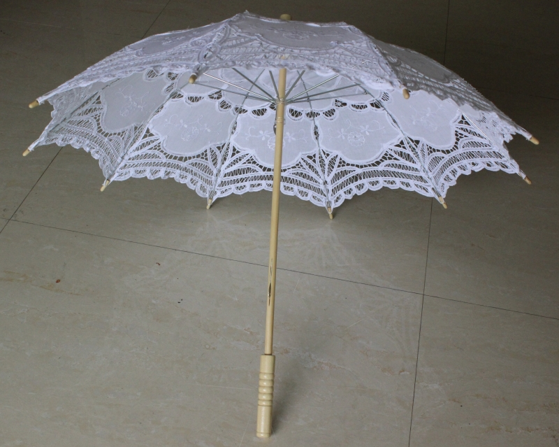 Free shipping New Vintage Lace Umbrella Handmade Cotton Embroidery White & beige Battenburg Lace Parasol Umbrella Wedding Decor(China (Mainland))
