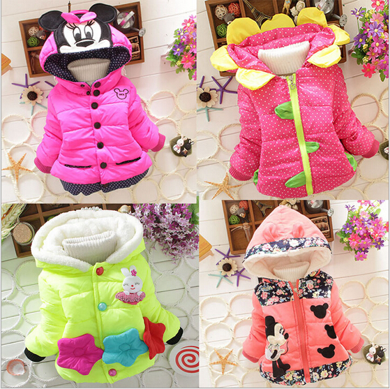Low Price!Free Shipping 2015 Winter Baby Girls Thicken Outerwear Hooded Cartoon Coat Cotton-padded Kids Clothing Jacket 1-4T(China (Mainland))