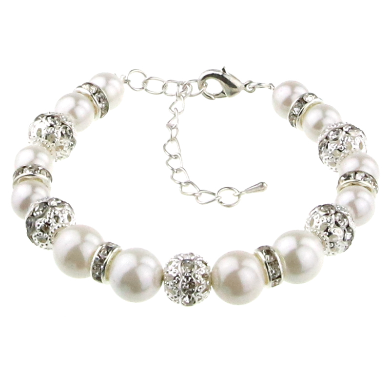 Wholesale 2015 summer style girls round white pearl bracelet jewelry 2pcs/bag with beautiful gift bag free shipping(China (Mainland))