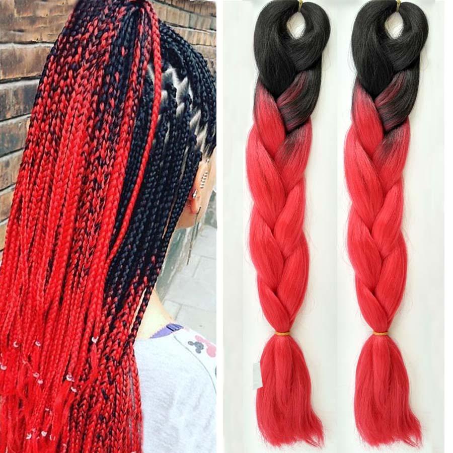 "1-10pcs/Lot 24""100g Black Bright Red Hair Two Tone Ombre Kanekalon Jumbo Braids Braiding Hair Synthetic Braiding Hair Extensions(China (Mainland))"