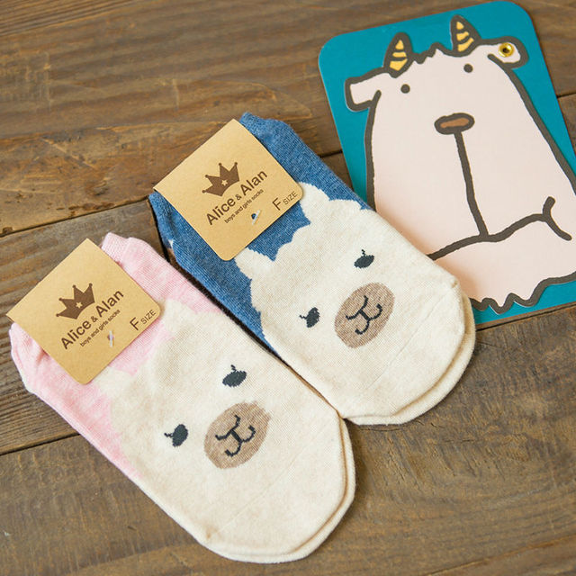 2016 новый летний весна симпатичные альпака лодка носки японский каваи животных мультфильм трубка носки невидимые носки