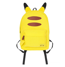 Pokemon GO Pikachu Yellow Backpack PU Shoulders Bag Laptop Bag Schoolbag