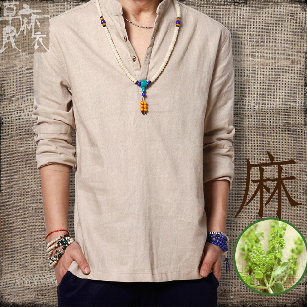 2014 summer male casual linen shirts chinese style coarse hemp shirt vintage fluid pullover - Fashion Shop 7 store