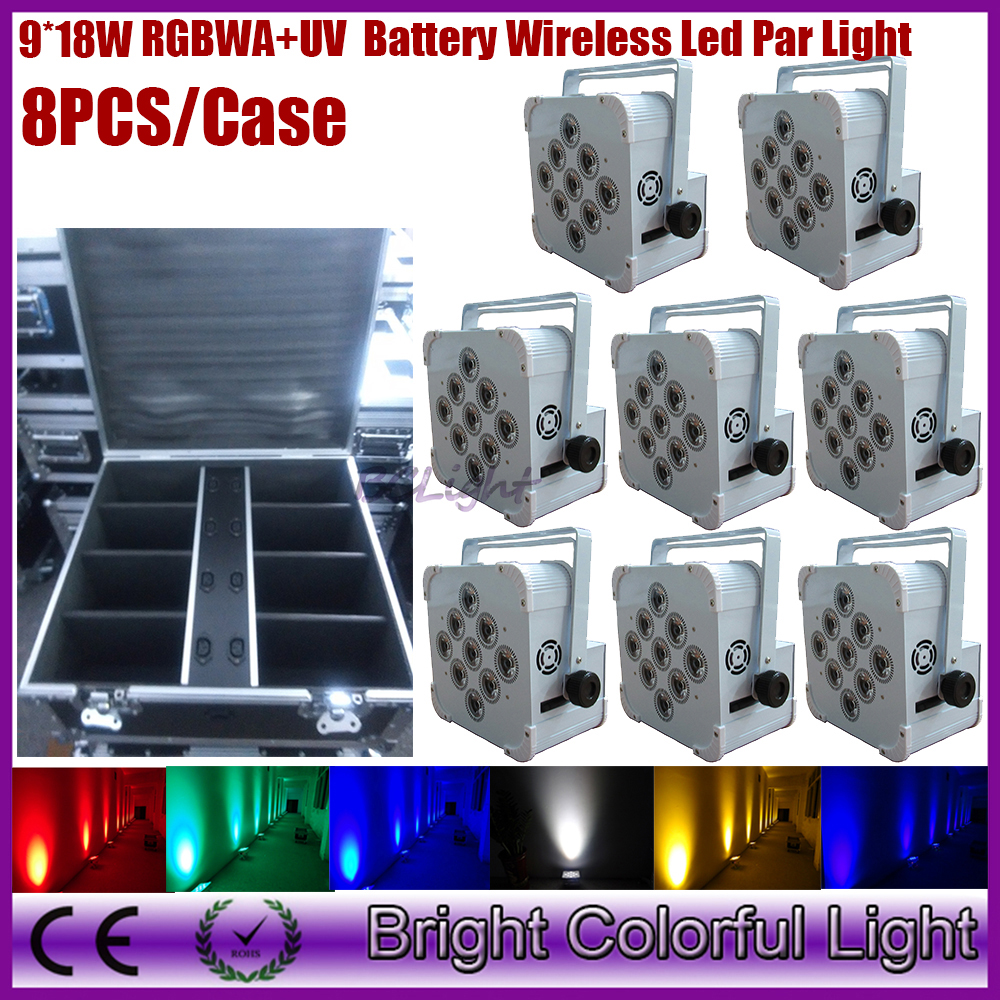 8IN1 Charging Flight Case 9*18W RGBWA UV 6 in 1 Wireless DMX Battery Power Led Par Light Led Par Cans DHLFree Shipping(China (Mainland))
