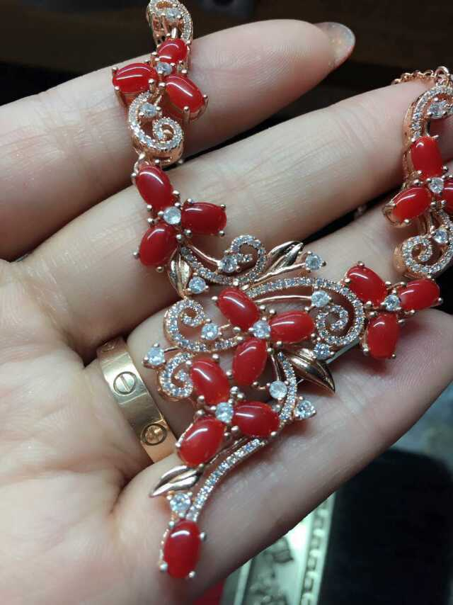 Fashion luxury natural red coral  pendant necklace 925 sterling silver natural gem stone necklace for women wedding fine jewelry