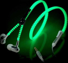 Metal Zipper Glowing Earbuds Glow In The Dark earphones Stereo Bass Sport Running Luminous Headset Night Lighting Handsfree(China (Mainland))