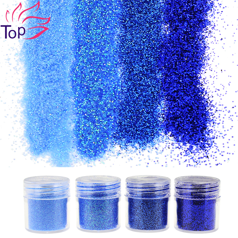 4 Bottle/Set Blue Color Dust Gem Nail Glitter Decorations Acrylic Glitter Powder 3D Nail Art Tips BG037-040(China (Mainland))