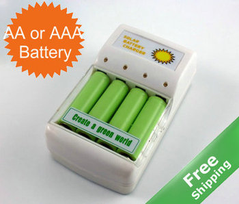 Rechargeable battery Solar charger + For AA or AAA battery + Solar or Mains power charging + Free shipping