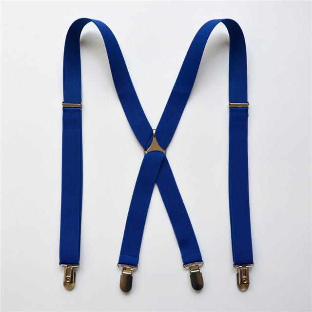 Мужская мода насыщенный синие подтяжки мужские брекеты клип на X - назад эластичные ...