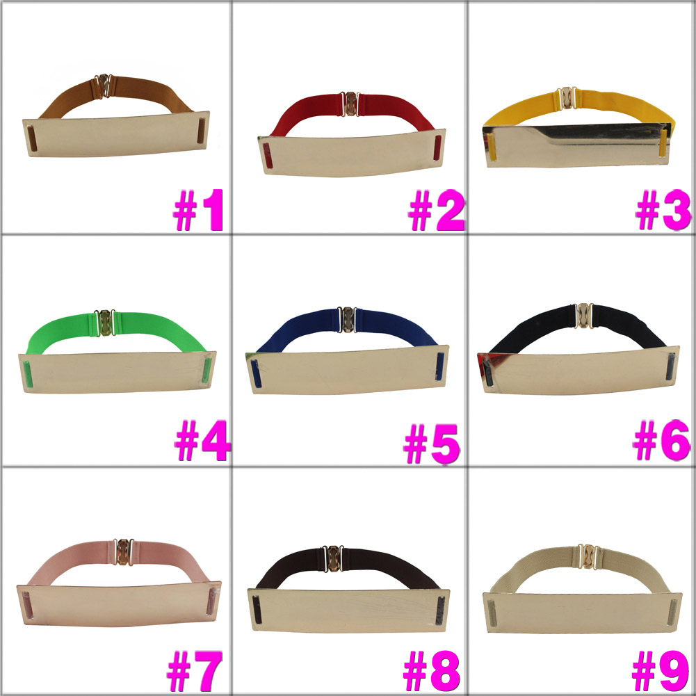 Elastic Mirror Metal Waist Belt Metallic Bling Plate Wide Band For Women Ladies Accessories HB88
