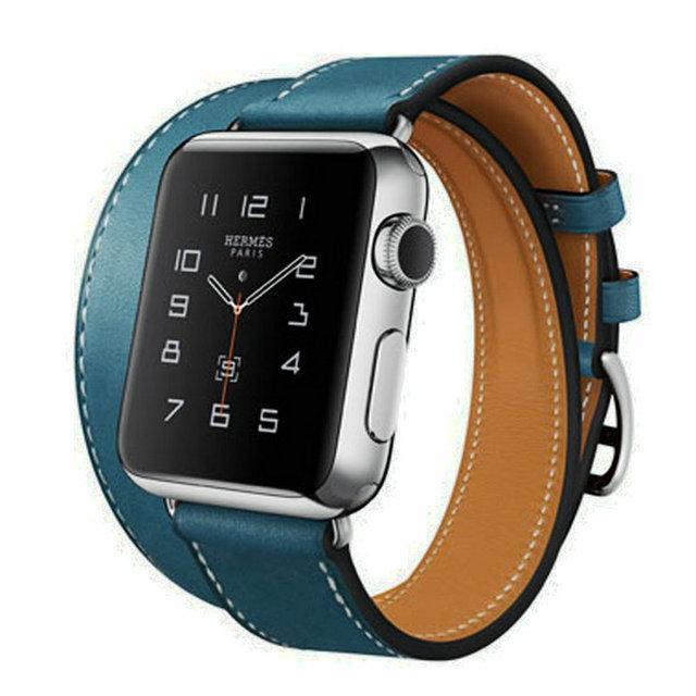 Новый оптовая продажа удлиненная из натуральной кожи для Apple , диапазон вахты двойной тур браслет кожаный ремешок для часов iWatch группа 38 мм 42 мм