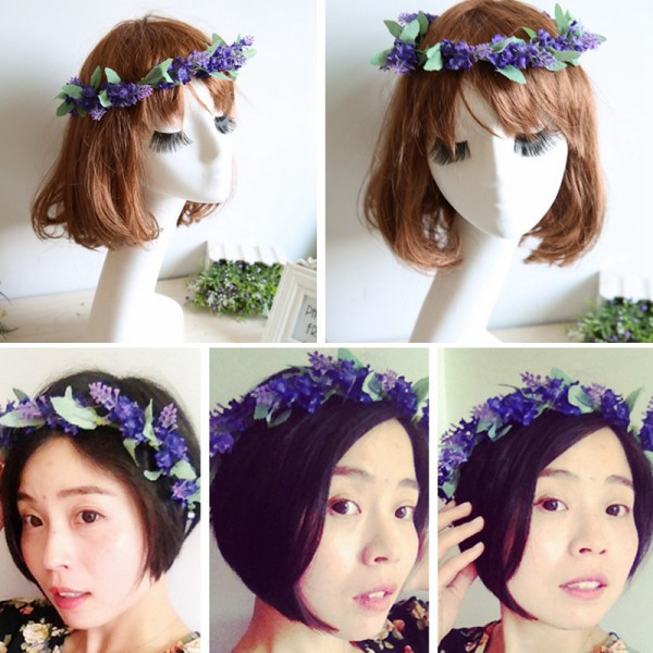 The New Design For Flower Garland Crown Lavender Headband Hair Band Bridal Festival Holiday Wreath(China (Mainland))