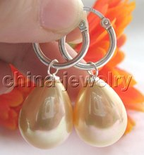 20mm golden south sea shell pearl earring-925 silver  shippment(China (Mainland))