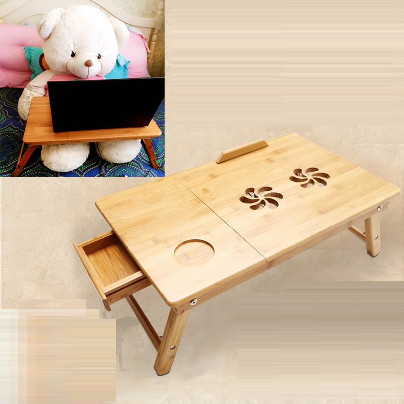 EC DAILY Laptop table, bamboo bed with a lazy desk with summary tables of solid wood folding radiator free shipping FREE SHIPPI(China (Mainland))