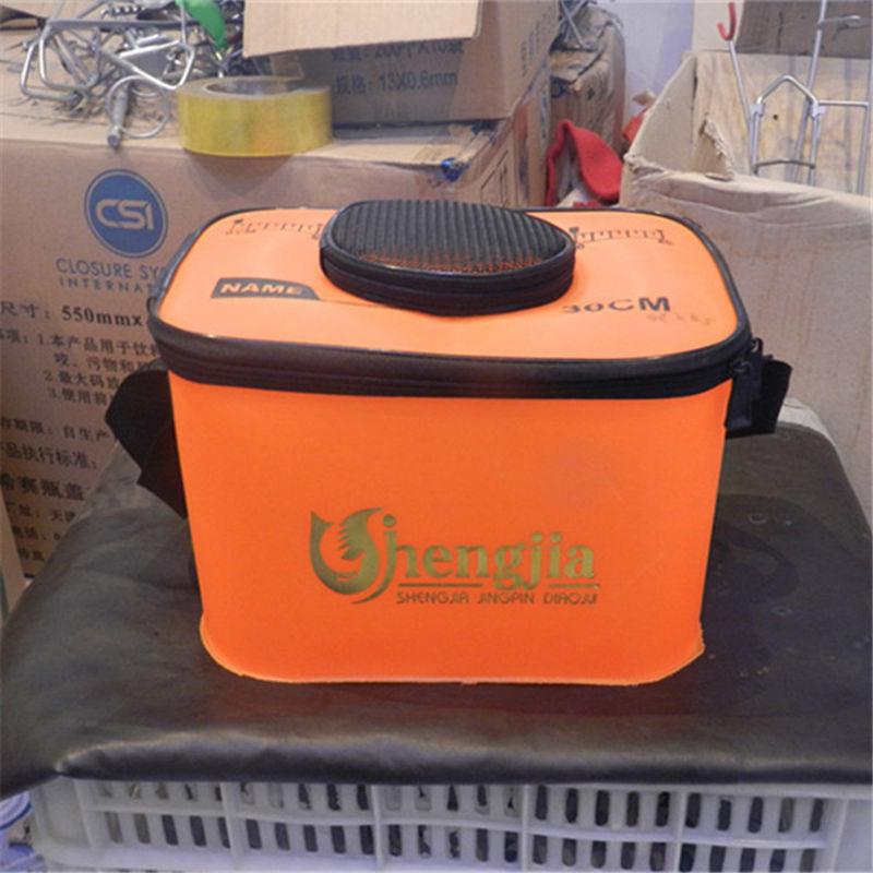 Здесь можно купить  30cm Large Capacity Folding Orange Live Fish EVA Plastic Fishing Bucket Water Tank With Handle Fishing Bags free shipping  Спорт и развлечения