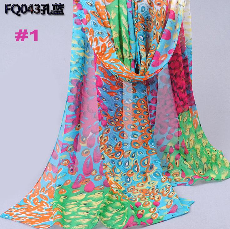 hot sale pattern women peacock flower fashion Muffler shawls chiffon silk head wrap hijab scarves/scarf 10pcs/lot 160*50cm(China (Mainland))