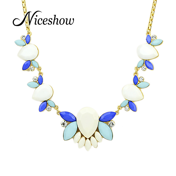Indian Jewelry Colorful Simulated Gemstone Gold Color Chain Gothic Jewelry Necklace For Women(China (Mainland))