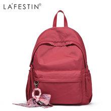 LAFESTIN Mulheres Mochila saco de Livro Escola Mochila Para Meninas Adolescentes Enfeite De Fita Bolsa de Viagem Da Moda mochila Bagpack(China)