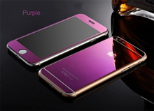 "Hot Lastest Front+Back Premium Mirror Plating Colored Tempered Glass for iphone 6 6s plus 5.5"" Full Cover Screen Protector film"