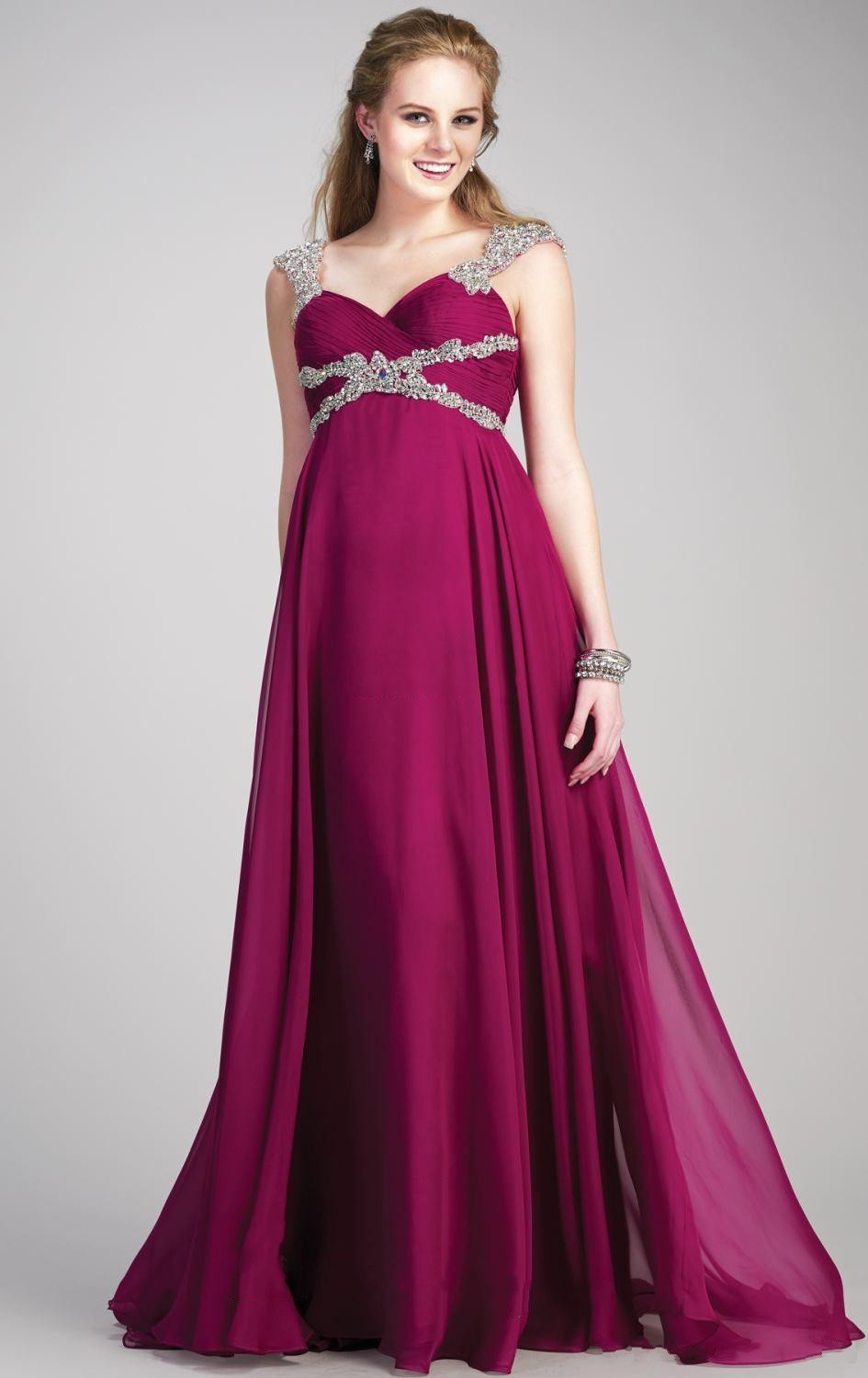 Custom made sweetheart floor length purple empire beading for Wedding guest pregnancy dresses