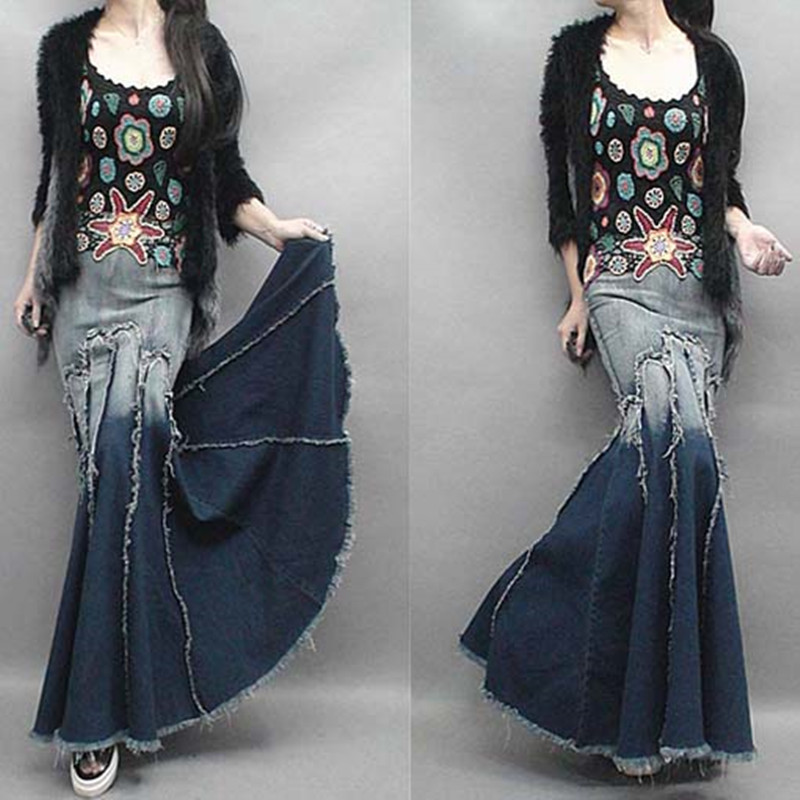 Free Shipping 2015 New Fashion Long Floor Length Denim Jeans Skirts For Women Plus Size S-XL Mermaid Style Skirts With Tassels