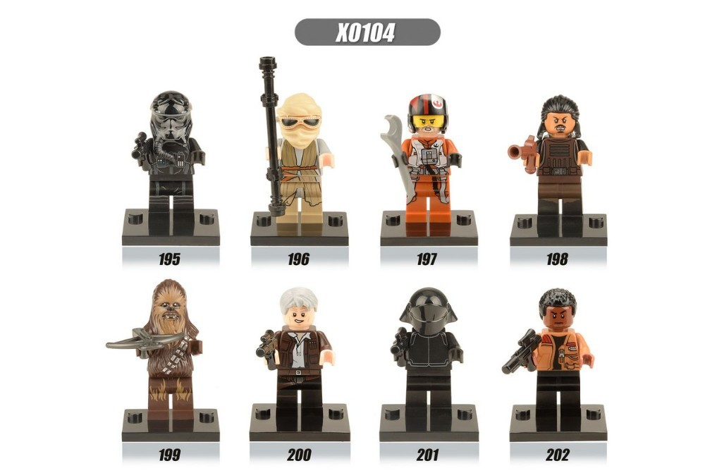 80pcs XINH 195-202 Star Wars The Force Awakens Tasu Leech/Rey/Finn/Chewbacca/Han Solo minifigure block toys<br><br>Aliexpress