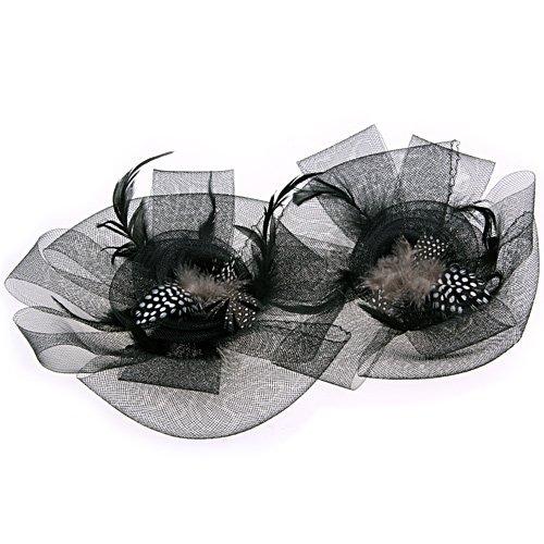 BISM Black Flower Feather Organza Mesh Hair Clip Fascinator Wedding(China (Mainland))