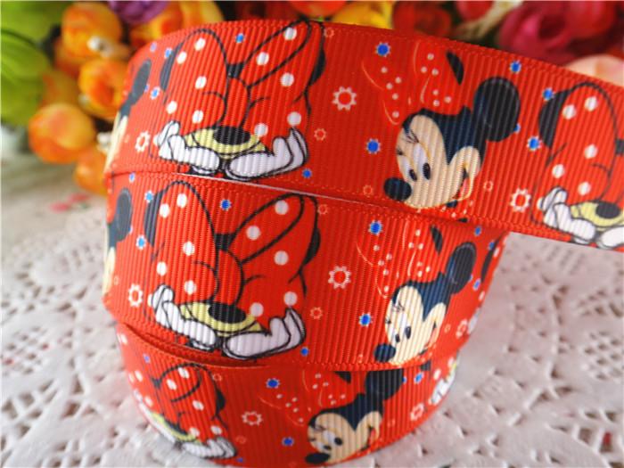 2014 7/8'' 22mm 10 yards Minnie mouse printed grosgrain ribbon cartoon ribbons cloth tape hair accessories WQ032220 - Alice Fashion Ribbon store