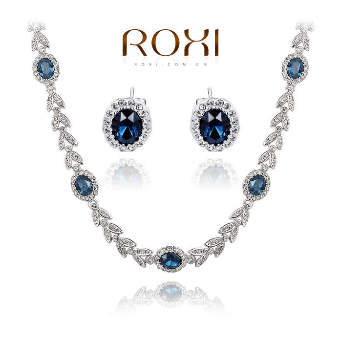 ROXI Christmas Gift Crystal Vintage Set Girlfriend 100% Man-made Fashion Gold Jewelry Blue Luxury Earrings+Necklace<br><br>Aliexpress