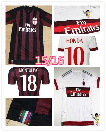 Top nuovo ac milan jersey 2016 ac milan 15 16 el shaarawy montolivo honda camisa 15 16 ac milan 2016 casa trasferta italia serie a(China (Mainland))