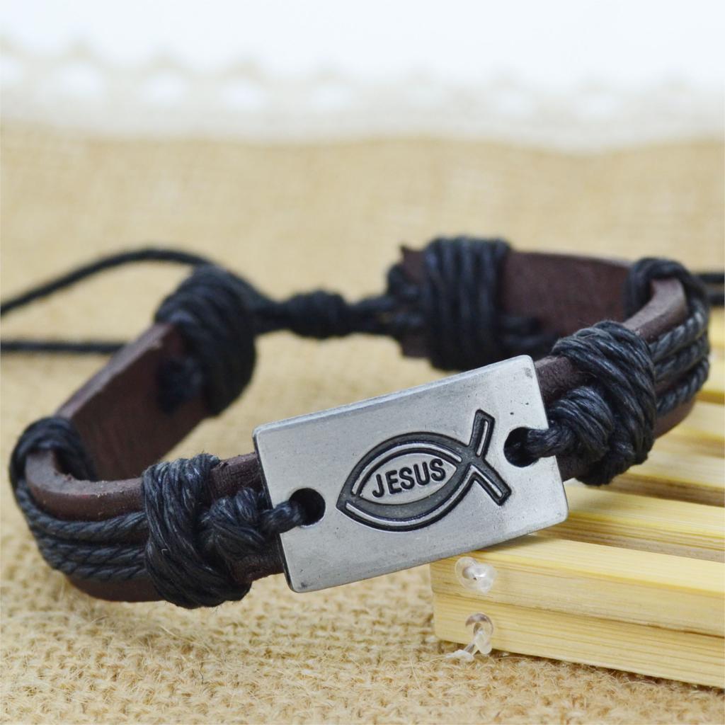 Wholesale 12pcs lot New Fashion Metal JESUS Fish Charms 4 Color tribe Genuine Leather bracelets Men