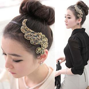 76004 elegant beaded resin cloth hair bands plants handmade fabric beaded hair accessory
