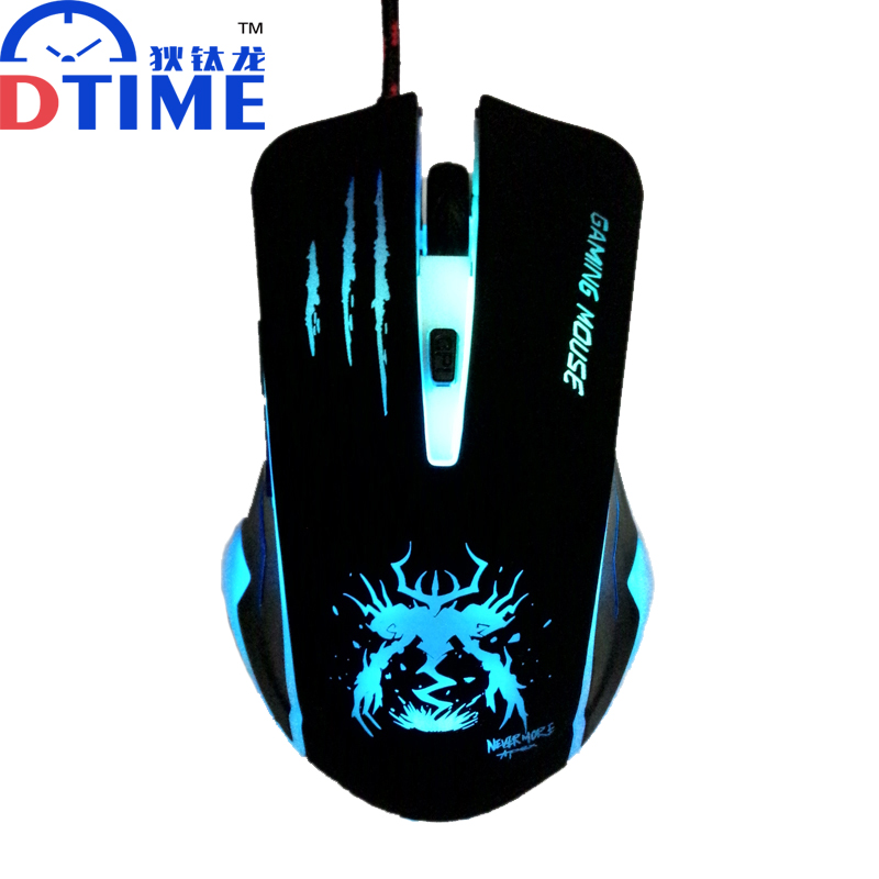 DTIME Wired Optical USB LED Light Computer PC Game Gamer Gaming Mouse Mice Mause For Dota 2 CS Air Steelseries Games Car Laptop(China (Mainland))