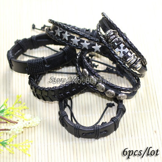 Wholesale 6pcs lot black genuine preto estrela male charm leather bracelets bangles men pulseira masculina jewelry