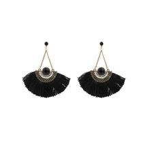 Fashion Women Trendy Zinc Alloy Anti-gold Plated Ethnic Vintage Fan Thread Drop Earrings(China (Mainland))