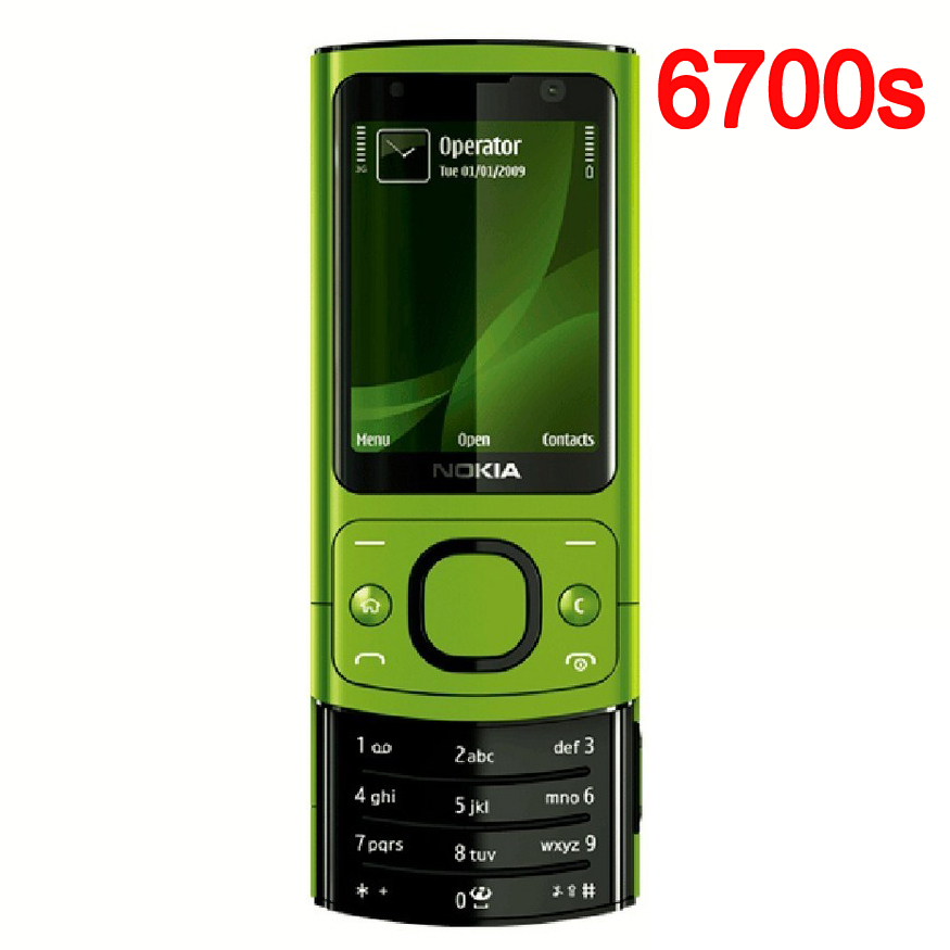 Original NOKIA 6700 Silder Phone Refurbished 3G GSM Unlocked 6700s Mobile Phone Green English Keyboard(China (Mainland))