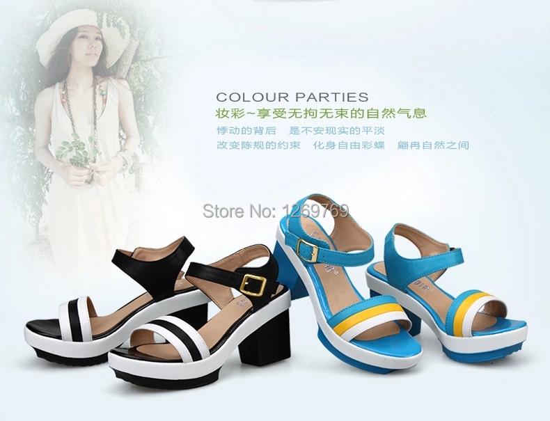 plus size 31-44 women open toe platform shoes summer square heels highheel sandals fashion - Pretty boys&girls' Family store
