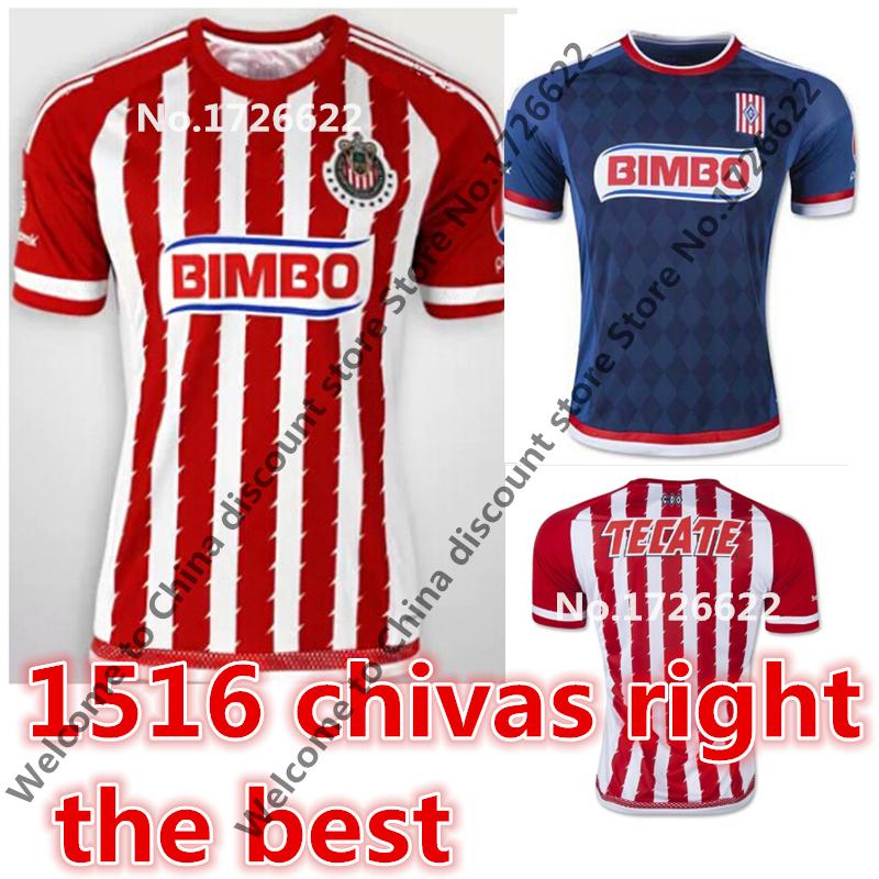 chivas jersey chivas guadalajara jersey Chivas Jersey 15 16 BRAVO ARCE DE Football Shirt Red White Black Home Away Camisas(China (Mainland))